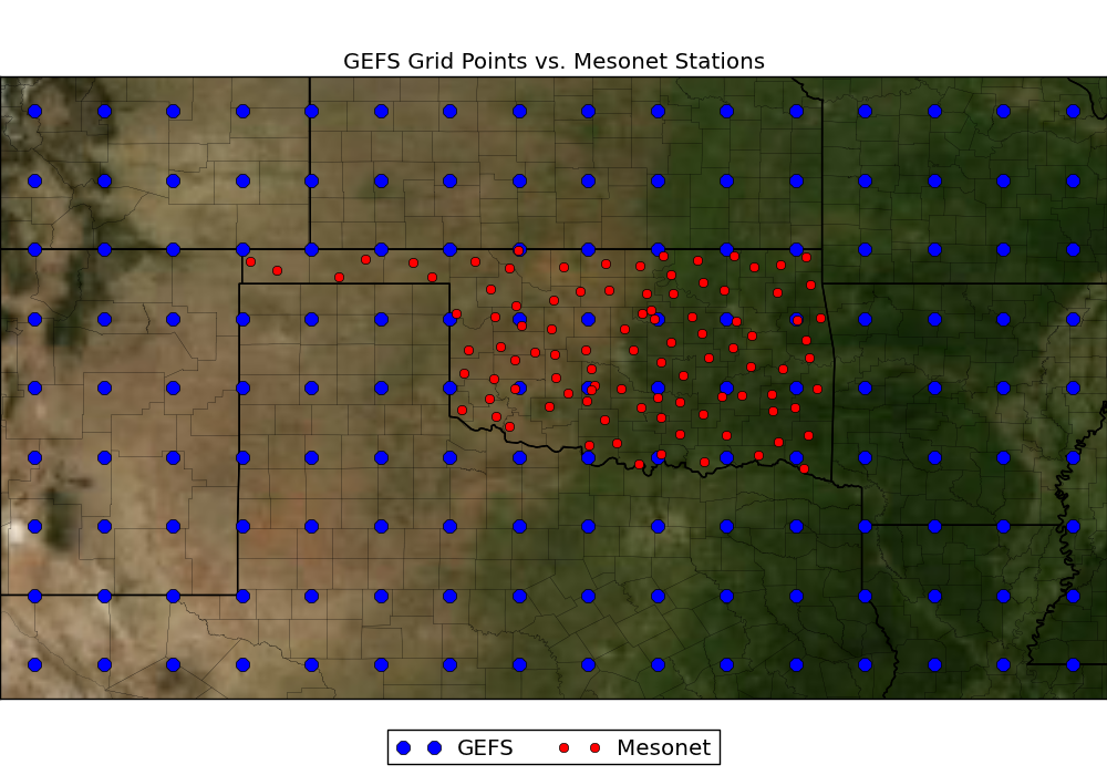 GEFS Grid Vs. Mesonet Station Locations